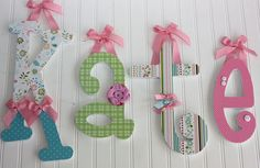 LOVE the different embellishments on each letter: Wood Letters - Custom Wooden Letters - Baby Name Wood Letters