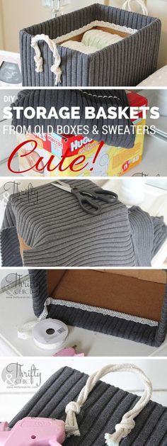 Check out the tutorial: #Cute Storage Boxes From Old Sweaters and Boxes #crafts #homedecor