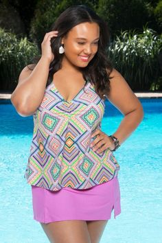 5ed93d991c951 This colorful women s plus size tankini from Always 4 Me in hues of pink  and blue