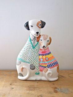 Ceramic dogs hand painted decorative statue