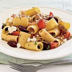 Simple Vacation Meals | Day 5: Pasta with Caramelized Onions, Tomatoes, Parsley, and Olives | CoastalLiving.com