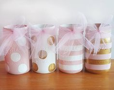 Bebé ducha masón tarros, rosa y oro masón tarros, tarros de masón de lunares, rayas masón tarros, tarros mason para bebé niña, tarros de masón del arco