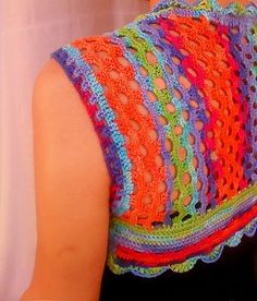 Paper Lotus, Yarn Over, Crochet Fashion, Crochet Crafts, Crochet Clothes, Rainbows, Fiber, Cover Up, Vest