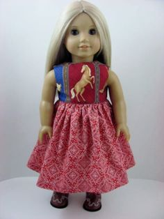 Western Horses Doll Dress and Sash for the American Girl Doll by TheWhimsicalDoll2