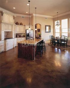 stained concrete floors Malay Tan stain with light misting of Black stain and Kemiko Clear Wax Sweet Home, Kitchen Flooring, Flooring, Floor Stain, Home Remodeling, Pole Barn Homes, House, House Flooring, Concrete Stained Floors