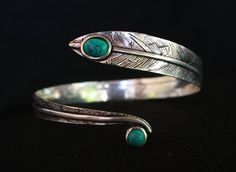 Textured Vintage Leaf coiled silver Indian armlet studded with Turquoise Stone,gypsy armlet,upper arm cuff