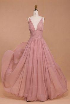 Spaghetti straps dusty pink bridesmaid dresses long