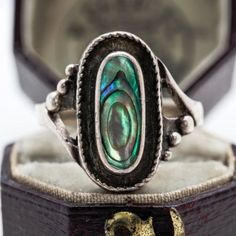 Antique-Vintage-C-1930-Art-Deco-Sterling-Silver-Womens-Abalone-Shell-Ring-Sz-6