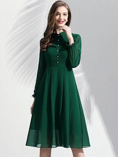 Green Fashion Turn Down Collar Long Sleeve Chiffon Skater Dress