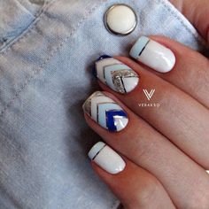 Blue and white nails, Nail art stripes, Nails by striped dress, Silver painted…