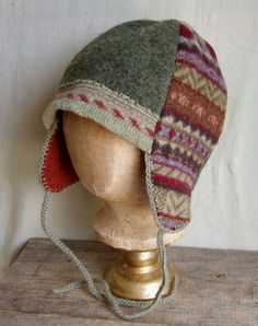 repurposed sweaters...aviator-style hat