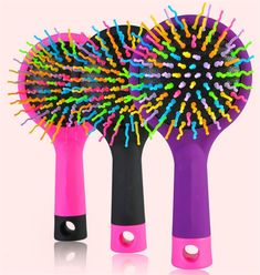 Magic rainbow hair comb anti-static magic cushion Round Hair Brushes Comb Salon make up Ball Styling tools Hairbrush Back mirror