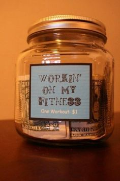 How about a little weight loss motivation?!?!  Put $1 in the jar every time you workout, when you get $100 treat yourself to something nice like a new workout outfit :-)  #weightloss #motivation #workout