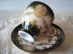 Vintage Demitasse Cup and Saucer, Black and Gold, Hand Painted Raised Flowers…