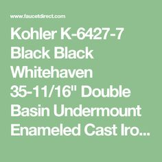 "Kohler K-6427-7 Black Black Whitehaven 35-11/16"" Double Basin Undermount Enameled Cast Iron Kitchen Sink with Self Trimming Apron Front and Smart Divide - FaucetDirect.com"