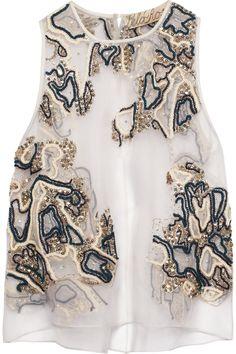 Lela Rose|Embellished silk-organza top|NET-A-PORTER.COM