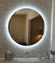 Mirrors and Marble™ brand commercial grade wall-mounted round LED bathroom vanity makeup mirror, 40 inches wide, 40 inches tall. Teal Bathroom Decor, Tropical Bathroom, Budget Bathroom, Master Bathroom, Bathroom Lighting, Bathroom Ideas, Bathroom Mirror With Lights, Blue Bathrooms, Bathroom Bin