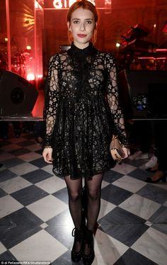 Star-studded: Actress Emma Roberts joined the pair at the bash in a chic LBD of laser cut . Eric Roberts, Emma Bebe, Celebrity Dresses, Celebrity Style, Emma Roberts Style, I Love Girls, Sweet Dress, Celebs, Celebrities