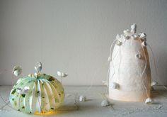 Handmade origami paper lamps, paper art  by Alessandra Fabre Repetto. Lampade di carta  a lad  in stile origami , Eco design, fiori di carta  Roma.