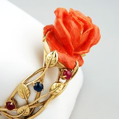 Or Rouge, Oeuvre D'art, Sculpture, Coral, Bangles, Lace Up, Cabochons, Rose, Bracelet