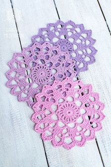Crochet doily coasters, Wedding table decor, Large doily set, Set of cup coaster. Diy Crochet Flowers, Free Crochet Doily Patterns, Crochet Dollies, Crochet Diy, Crochet Motifs, Crochet Home, Thread Crochet, Crochet Coaster, Crochet Unique
