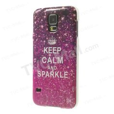 Keep Calm and Sparkle Glossy TPU Back Cover for Samsung Galaxy S5 G900 G900M