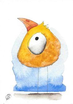 ACEO Original watercolor art painting Lucia Stewart whimsical yellow bird #IllustrationArt