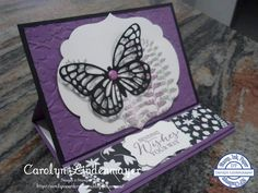 Carolyn's Card Creations: Stamp Ink Paper Challenge #1 - Perfect Plum Butterfly Easel