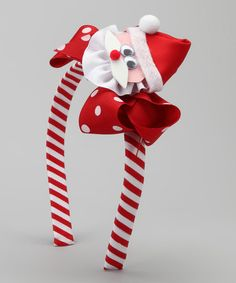 Love this Red Stripe Santa Bow Headband Set by Picture Perfect Hair Bows on #zulily! #zulilyfinds