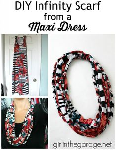 DIY Infinity Scarf from a Maxi Dress - girlinthegarage.net