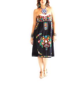 60d32506a89 Fridita Tehuana Vintage Mexican Embroidered Sweetheart Strapless Dress  Mexican Costume