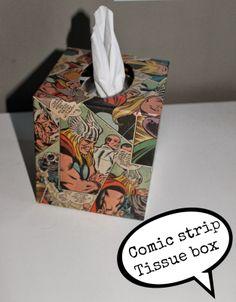 Superhero bedroom - comic strip tissue box cover