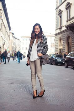 Black + white striped blazer, white blouse, beige pants, and black pointer heels