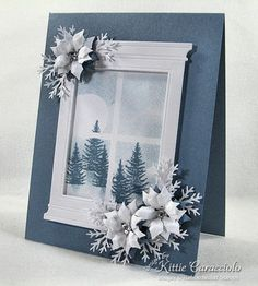 Blue Poinsettia Winter's Night by - Cards and Paper Crafts at Splitcoaststampers Homemade Christmas Cards, Homemade Cards, Christmas Crafts, White Christmas, Christmas Tree, Crochet Christmas, Christmas Angels, Xmas Cards, Diy Cards