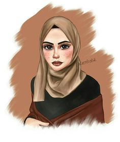 Drawing Poses Male, Female Face Drawing, Muse Kunst, Girl Drawing Easy, Hijab Drawing, Islamic Cartoon, Anime Muslim, Hijab Cartoon, Drawing Sketches