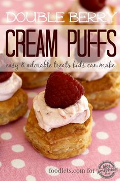 These double berry cream puffs are so easy that kids can make them!