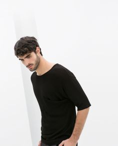 Image 1 of SHORT SLEEVE SWEATER WITH POCKET from Zara