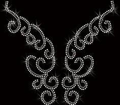 neckline swirl rhinestone Transfer Iron On Applique Bling. $10.00, via Etsy.