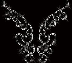neckline swirl rhinestone Transfer Iron On Applique Bling. $10.00, via Etsy.