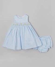 Laura Ashley London Blue Polka Dot Floral Smocked Dress & Diaper Cover - Infant | zulily