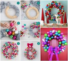 Rainbow Bauble Christmas Wreath Tutorial