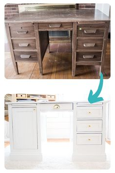 An $11 thrift store desk gets a makeover in this DIY Before and After! Pottery Barn inspired furniture flip is the perfect budget desk! #FurnitureMakeover #ThriftedTransformations Diy Furniture Flip, Thrift Store Furniture, Built In Furniture, Furniture Projects, Furniture Makeover, Home Projects, Pottery Barn Desk, Make A Door, Pottery Barn Inspired