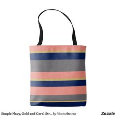 Simple Navy, Gold and Coral Stripe