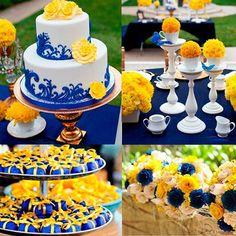 Pensando em uma decoração com layout mais moderno, ousado e descontraído para seu casamento? Que tal apostar na combinação das cores azul royal e amarelo? Essas cores  contrastantes podem ser usadas com elementos brancos para deixar a decoração mais equilibrada e estão na lista de tendências para decoração de casamentos para 2017! #weddingdecors #assessoria #assessoriadecasamento #assessoriadodia #assessoriaDreamFactory #weddings #casamentos #casaremrecife #casamentosrecife2017 #eventplanner…