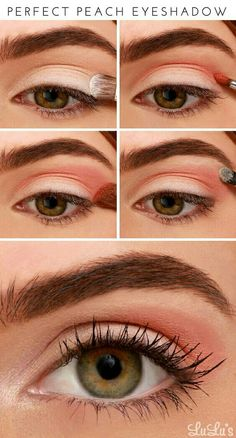 Pretty Peach Makeup Tutorials To Create With Your Peach Pale.- Pretty Peach Makeup Tutorials To Create With Your Peach Palettes Perfect Peach Eyeshadow Peachy Eyeshadow, Peach Eye Makeup, Eye Makeup Steps, Makeup Eyeshadow, Makeup Brushes, Brown Eyeshadow, Makeup Remover, How To Eyeshadow, Applying Eyeshadow