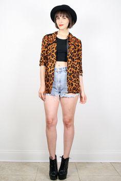 Vintage 80s Blazer Draped Boyfriend Blazer 1980s Leopard Print Blazer Jacket Baroque Print Black Brown Gold Animal Print Jacket M Medium by ShopTwitchVintage #vintage #etsy #80s #1980s #blazer #jacket #leopard #baroque