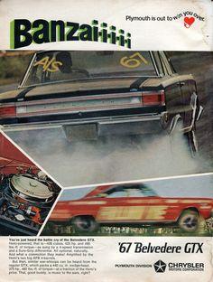 1967 Plymouth Belvedere GTX Advertisement Hot Rod December 1966 (by SenseiAlan)