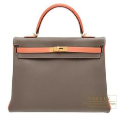 Hermes Kelly Bag 35 Retourne Etoupe/ Crevette Clemence Leather Gold Hardware from Discountpluss for $35,750.00 on Square Market