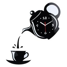 Decorative Coffee Cup Shape Kitchen Wall Clock – Black, White, Gold, or Silver - Wanduhr
