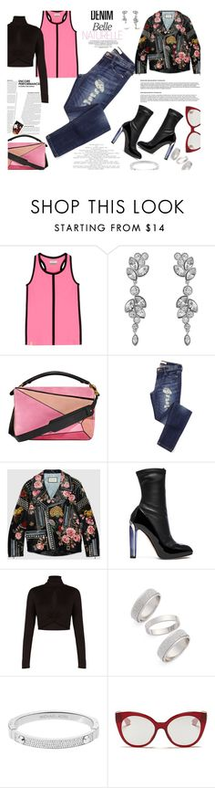 """Distressed Denim..."" by unamiradaatuarmario ❤ liked on Polyvore featuring Monreal, Swarovski, Loewe, Gucci, Alexander McQueen, BCBGMAXAZRIA, Topshop, Michael Kors, Miu Miu and women's clothing"